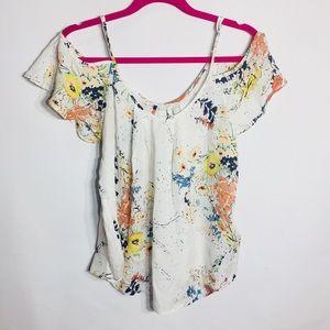 Joie 100% silk floral open shoulder top